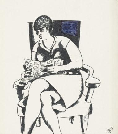 Ursula lesend, 1966, Filzstift auf Papier, 27 x 23,5 cm