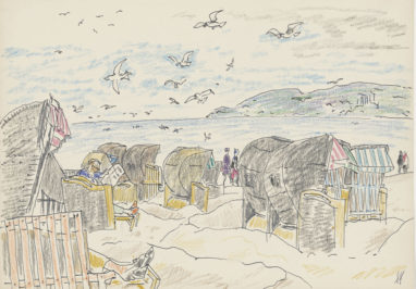Ostsee, 60er Jahre, farbige Kreide auf Papier, 20,7 x 29,5 cm