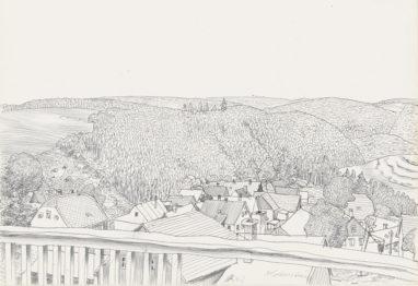 Lobenstein, 1972, Kugelschreiber auf Papier, 20 x 29 cm