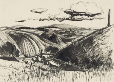 Vogtland, 1947, Tusche auf Papier, 21,3 x 29,3 cm