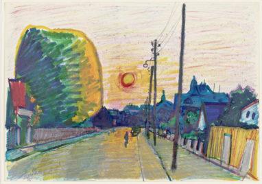 Sonnenstraße , 1965, farbige Kreide auf Papier, 20,5 x 29,5 cm