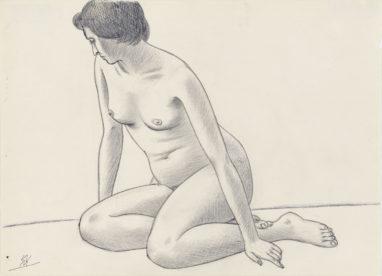 Sitzender weiblicher Akt, 60er Jahre, Kugelschreiber und Bleistift auf Papier, 21 x 29 cm