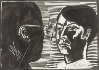 Wolfgang/ Ursula, 80er Jahre, Bleistift und Tusche auf Papier, collagiert, 18 x 26 cm
