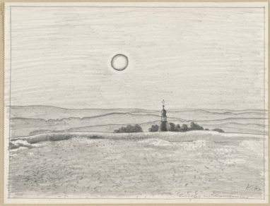 Kirche in Landwüst, 1974, Bleistift auf Papier, 17,4 x 23 cm