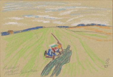 Richard prügelt seinen Schatten, 1979, Pastell auf Papier, 12 x 17,7 cm