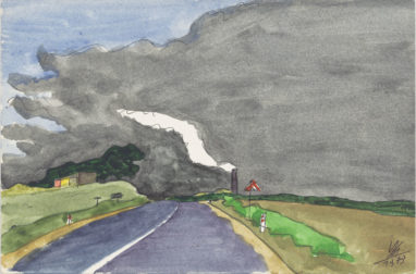 Straße, 1973, Aquarell und Bleistift auf Papier, 12 x 18 cm