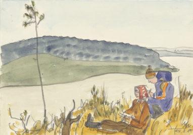 Zeichnen im Freien, 24.2.1980, Aquarell und Bleistift auf Papier, 12 x 17 cm