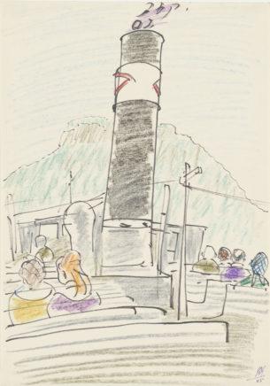 Dampferfahrt, 1965, Mischtechnik auf Papier, 29,5 x 20,5 cm