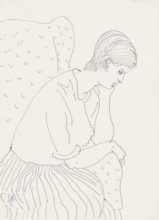 Ursula im Sessel, 1961, Kugelschreiber auf Papier, 27,7 x 20 cm