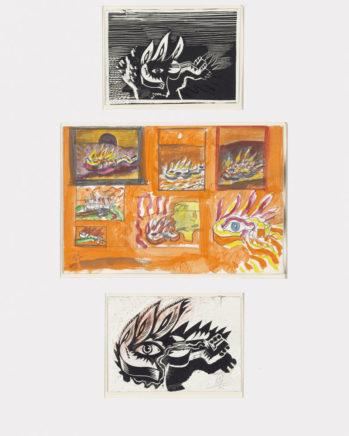 Brennende Gitarre, 1975, Wasserfarbe, Bleistift und Linoldruckplatten mit schwarzer Druckfarbe