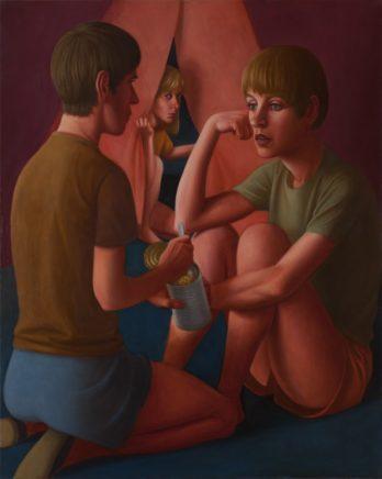 Matthias Ludwig, Nachts im Zelt, 2011, Mischtechnik auf Hartfaser, 100 x 80 cm