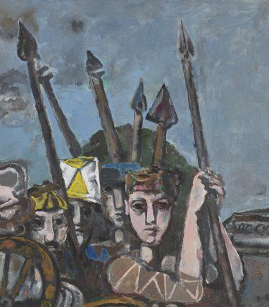Willi Sitte, Lanzenmänner, 1953, Öl auf Karton, 54 x 61 cm