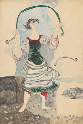 Willi Sitte, Mädchen mit Seil, 1949, Gouache, 75 x 50 cm