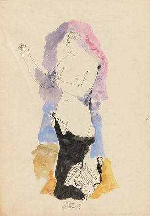 Willi Sitte, Stehende, 1949, Gouache, 75 x 50 cm