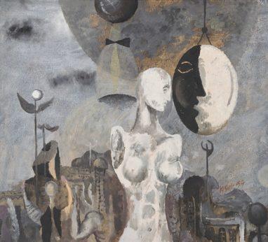 Willi Sitte, Spiegelbild, 1954, Öl auf Karton, 54 x 61 cm