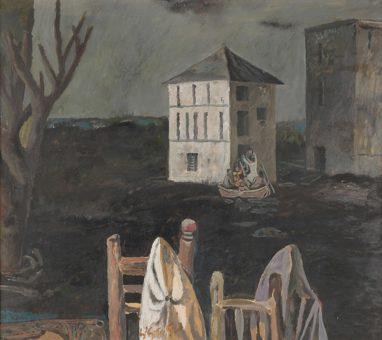 Willi Sitte, Hochwasser in Polesine, 1952, Öl auf Karton, 54 x 61 cm