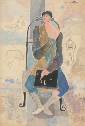 Willi Sitte, Mathematiker, 1949, Gouache, 75 x 50 cm