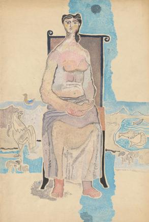 Willi Sitte, Am Wasser, 1949, Gouache, 75 x 50 cm