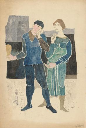 Willi Sitte, Paar im Gespräch, 1949, Gouache, 75 x 50 cm