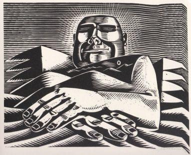 Wolfgang Mattheuer, Das große Grinsen, 1967, Holzschnitt, 35,9 x 48 cm