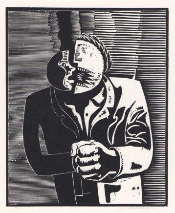 Wolfgang Mattheuer, Zwiespalt, 1979, Holzschnitt, 55 x 45 cm