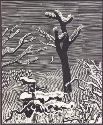 Wolfgang Mattheuer, Eingeschneite Aktion, 1979, Holzschnitt, 55 x 45 cm