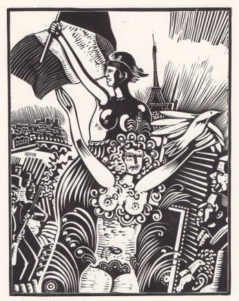 Wolfgang Mattheuer, Ein deutscher Lebenslauf - Blatt 7, 1989, Linolstich, 45 x 3 cm