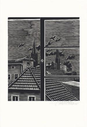 Wolfgang Mattheuer, Bergener Hotelfenster, 1973, Holzschnitt, 41 x 35,2 cm