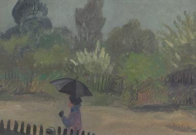 Wolfgang Mattheuer, Ursula im Regen, 1954, Öl auf Hartfaser, 26,5 x 37 cm
