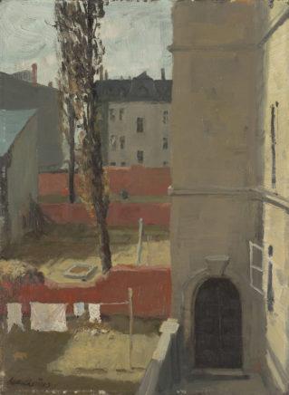 Wolfgang Mattheuer, Hof (Studie), 1957, Öl auf Hartfaser, 46,5 x 34 cm