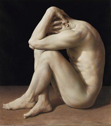 Michael Triegel, Akt, 2019, Acryl auf Bütten, 84 x 75 cm