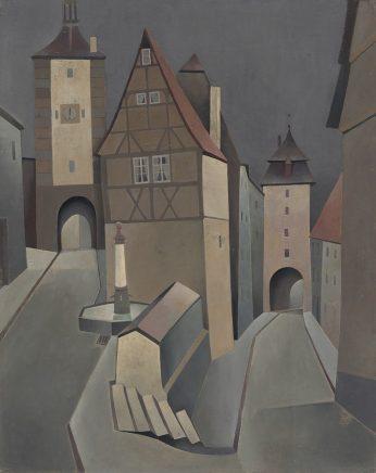 Günther Blau, Rothenburger Mondnacht, 1956, Öl auf Hartfaser, 50 x 39,5 cm