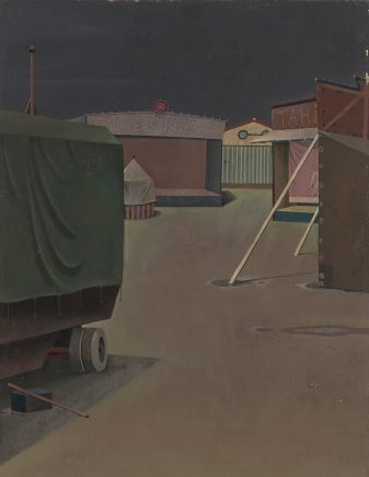 Günther Blau, Kirmes, 1962, 1962, Öl auf Hartfaser, 45,5 x 35,5 cm