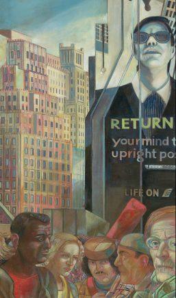 Ulrich Hachulla, New Yorker Straßenszene, 2002/03, Mischtechnik auf Hartfaser, 80 x 45 cm