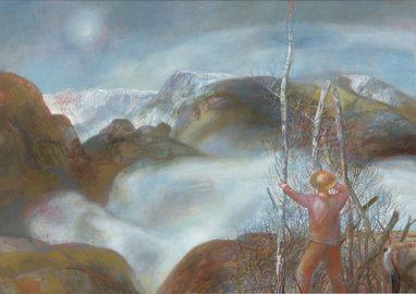 Ulrich Hachulla, Nebel im Binntal, 2007, Mischtechnik auf Hartfaser, 50 x 70 cm cm