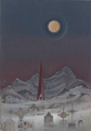 Günther Blau, Mond über Bayern, 1983, Öl auf Leinwand auf Hartfaser, 55 x 38,5 cm