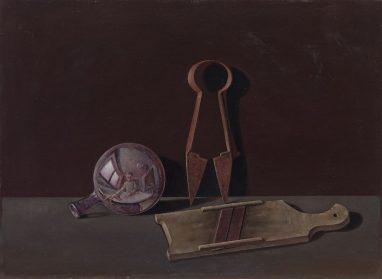 Günther Blau, Stilleben mit Glaskugel, 1984, Öl auf Leinwand auf Hartfaser, 50 x 68,2 cm