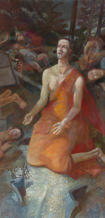 Ulrich Hachulla, Hiob, Maria Magdalena, Christus im Garten Gethsemane (Triptychon, rechte Tafel), 2017, Mischtechnik auf Hartfaser, je 160 x 80 cm