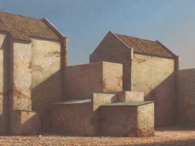 Markus Matthias Krüger, Hinterhaus, 2018, Acryl und Öl auf Leinwand, 30 x 40 cm