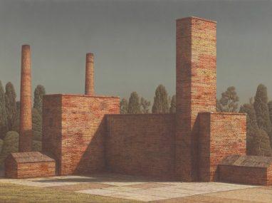 Markus Matthias Krüger, Fabrik II, 2018, Acryl und Öl auf Leinwand, 60 x 80 cm