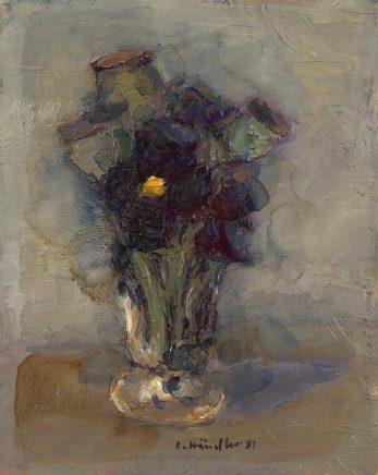 Stiefmütterchen im Glas, 1981, Öl auf Hartfaser, 19 x 15,5 cm