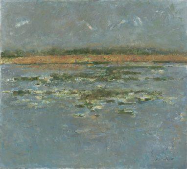 Karower Fischteich, 1995, Öl auf Leinwand, 90 x 100 cm