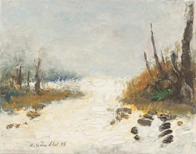 Neuschnee I, 1995, Öl auf Leinwand, 24 x 30 cm