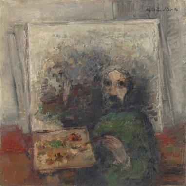 Selbstbildnis im Atelier, 1996, Öl auf Leinwand, 40,5 x 40 cm