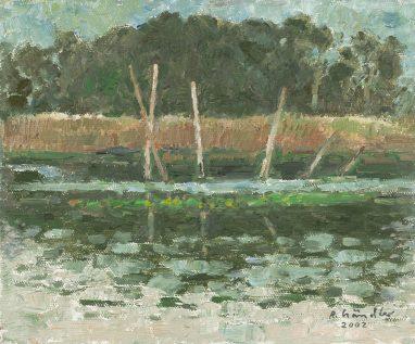 Reusenstangen, 2002, Öl auf Leinwand, 25 x 30 cm