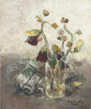 Malven im Glas mit Farbtuben, 2004, Öl auf Leinwand, 30 x 25 cm