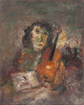 Frau mit Geige und Buch, 2006, Öl auf Leinwand, 30 x 24 cm