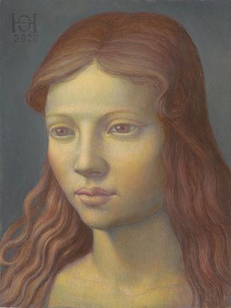 Shinji Himeno, Kopf Luisa, 2020, Mischtechnik auf MDF, 17,6 x 13,3 cm