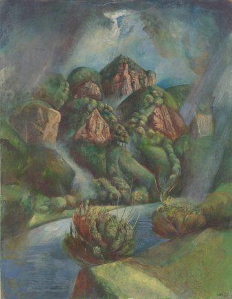 Ulrich Hachulla, Im Elbsandsteingebirge, 1965, Eitempera auf Hartfaser, 50 x 40 cm