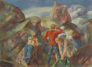 Ulrich Hachulla, Im Rilagebirge, 1969, Mischtechnik auf Hartfaser, 45 x 61 cm